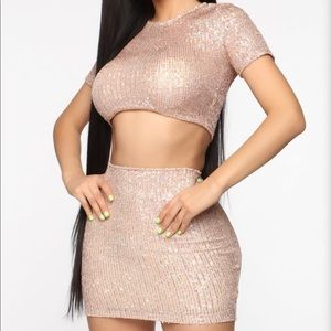 Born To Sparkle Sequin Skirt Set Rose Gold
